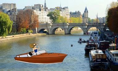 a girl riding a boat the the ile de la cite