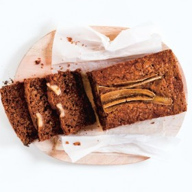Plate with slices of banana cake