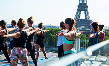 Yoga session on a Parisian rooftop