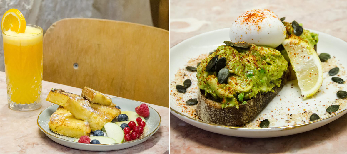Pancakes, fresh juices avocado toast gluten free as an extra option at café Foufou in Paris