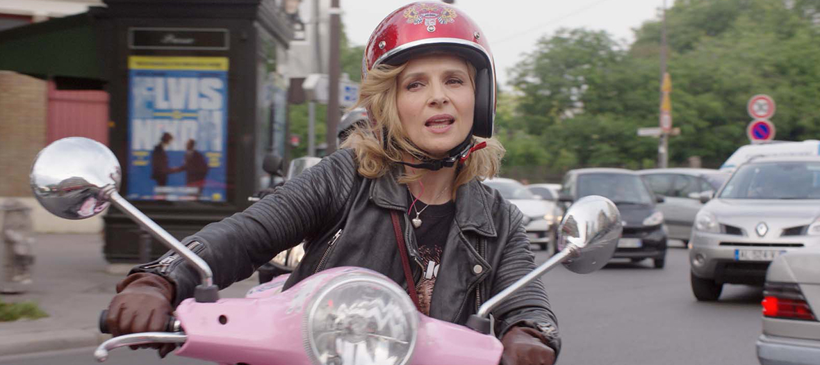 juliette binoche on the bike