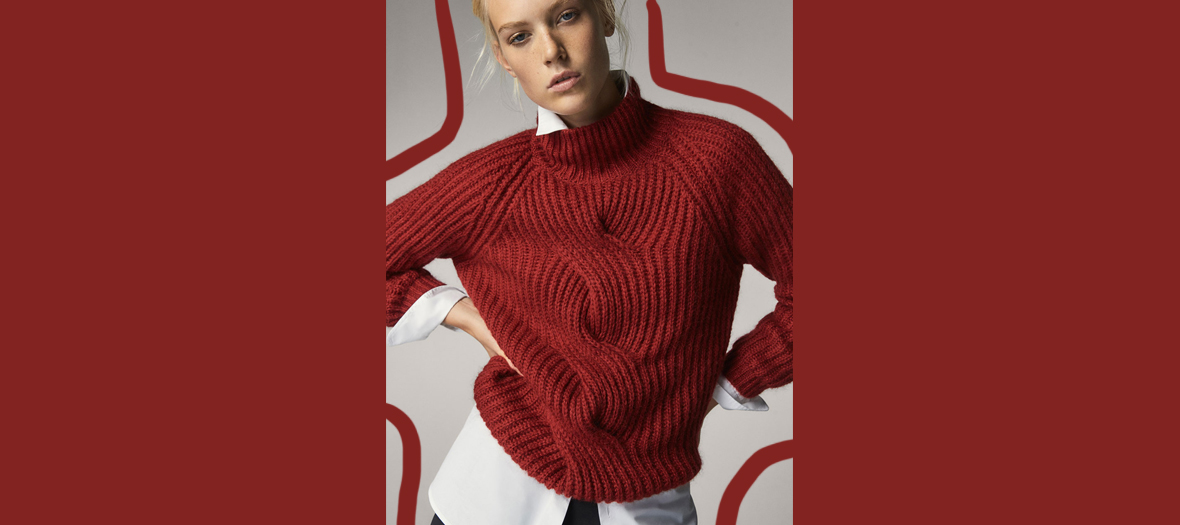 massimo dutti pull rouge