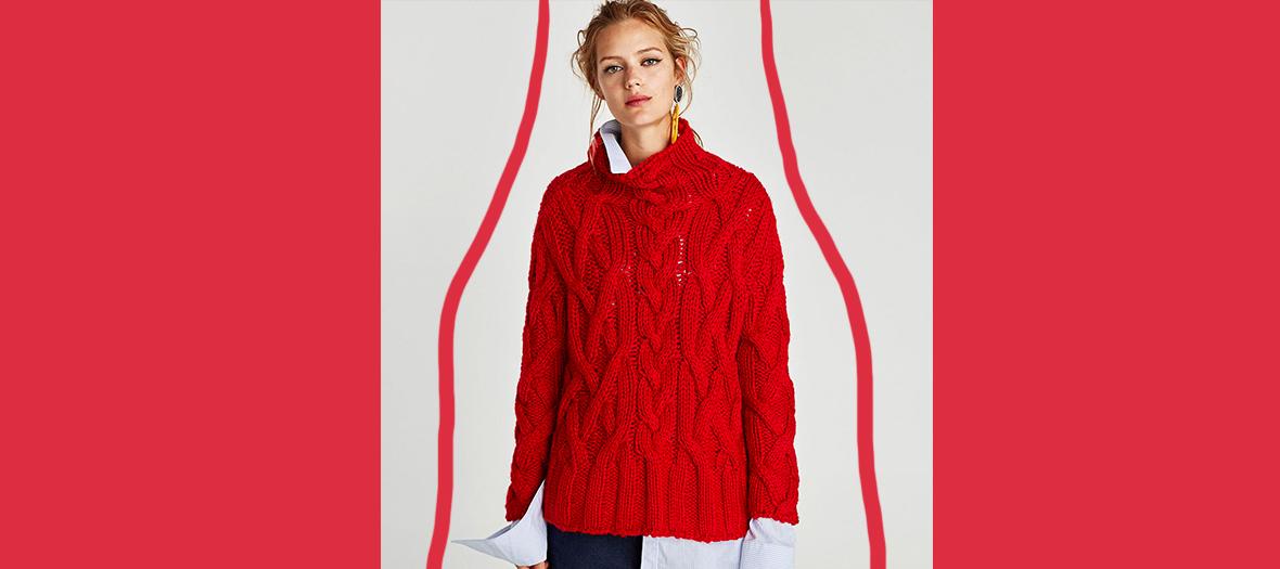 zara pull rouge