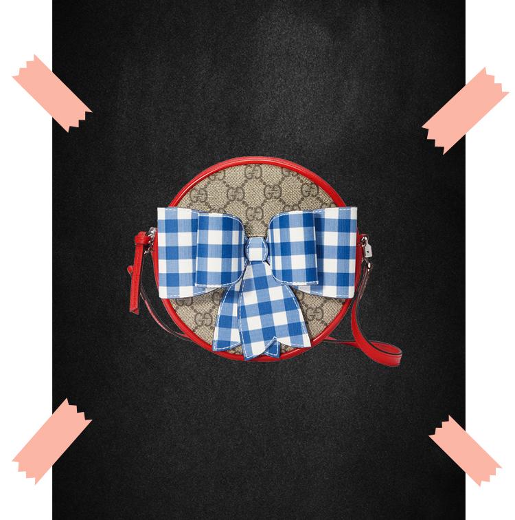 Sac à bandoulière pour enfant en toile GG Supreme à imprimé carreaux et nœud