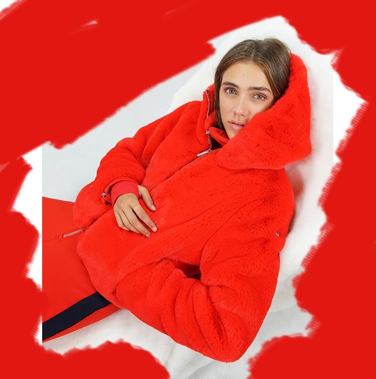 Veste oversize à capuche rouge