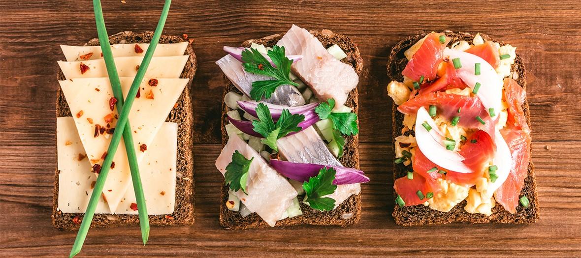 Tartine Danoise avec crudités, saumon, hareng, petites herbes, oignons, condiments