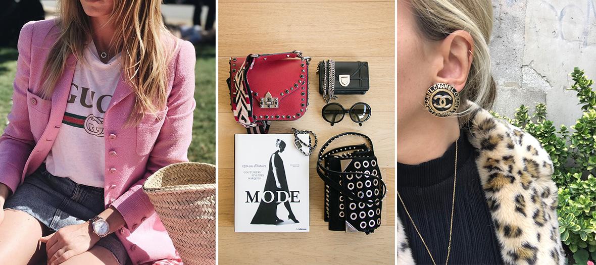 Veste, sacs, boucles d'oreilles Chanel