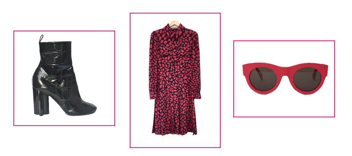 Bottine en cuir noir, robe imprimé, lunettes vintages rouges