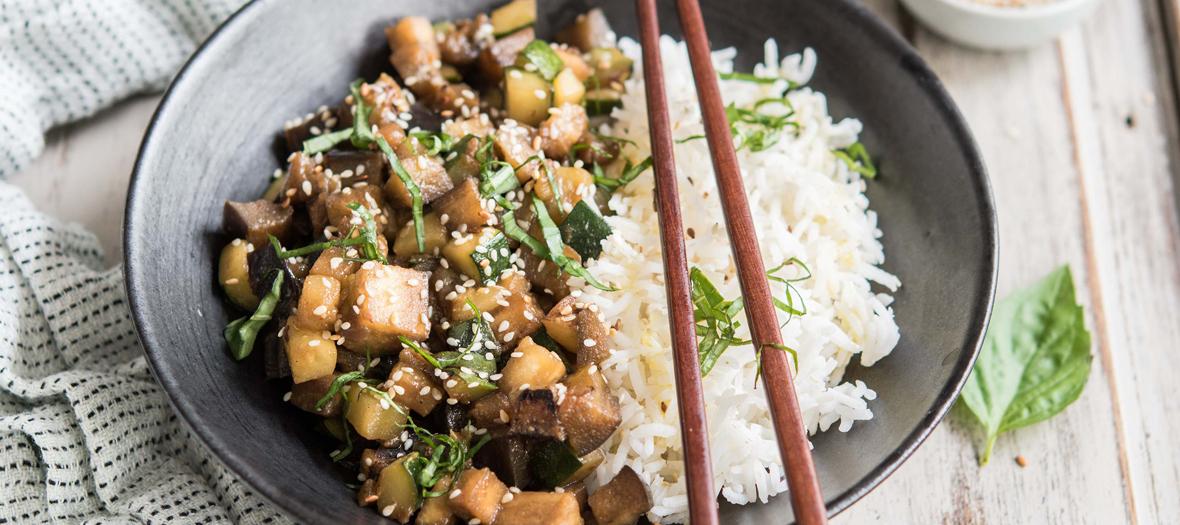 Plat légumes et riz