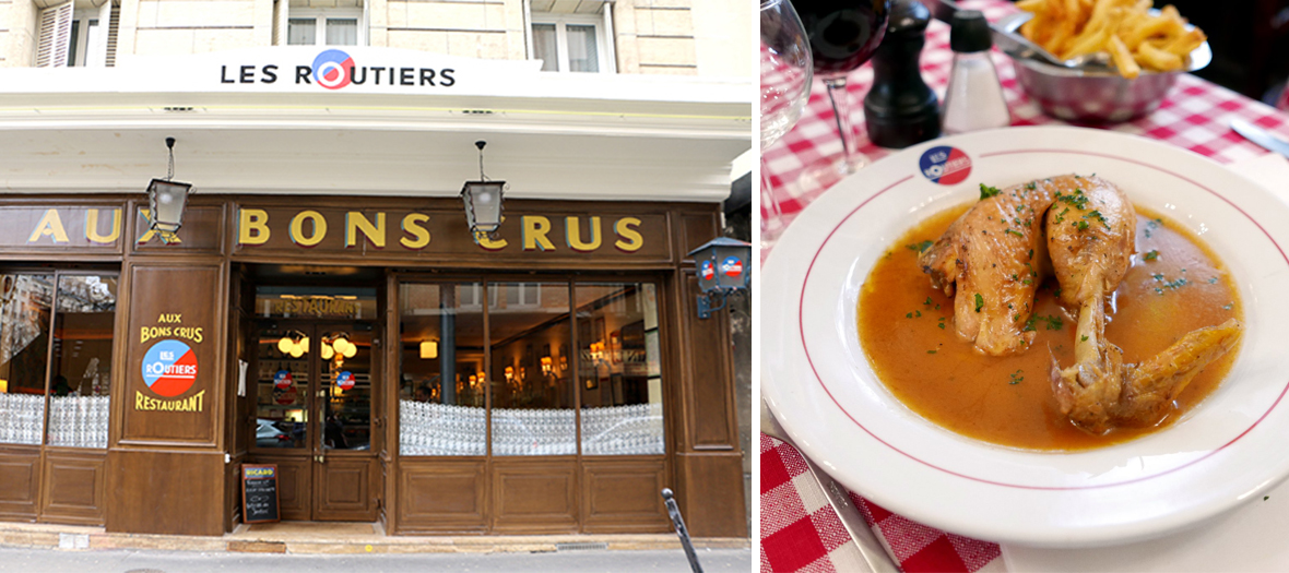 Duck confit and front facade of the bistrot aux bons crus