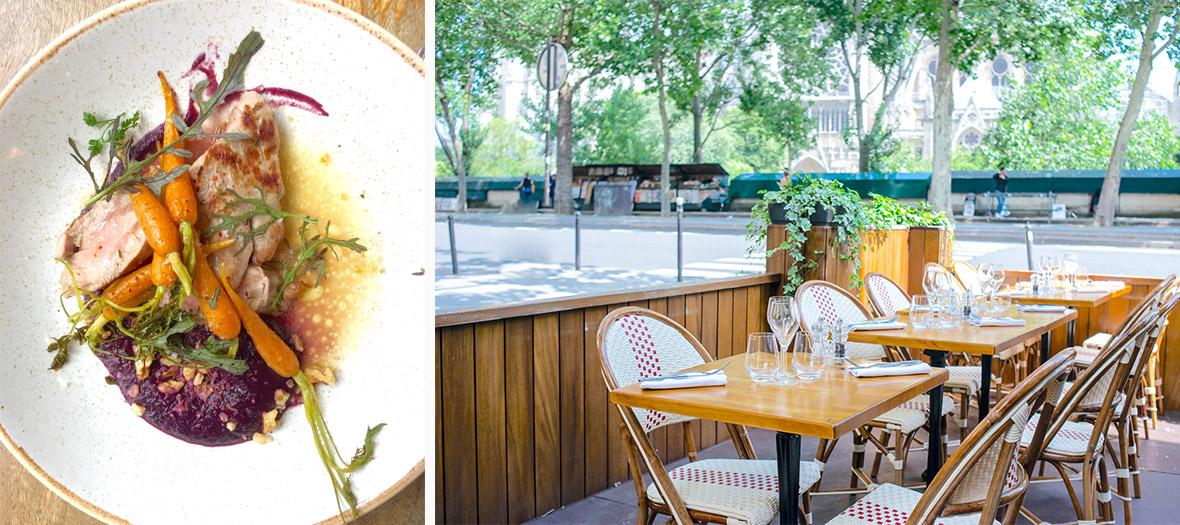 plat Quasi d'agneau rôti, tombée d'épinard à la menthe fraîche, de carottes et terrasse du restaurant La Bouteille d'or