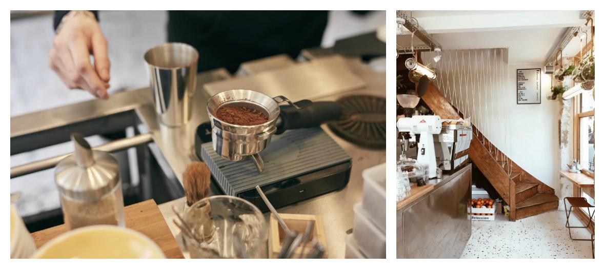 Salle interieur et cafe au restaurant brunch caoua