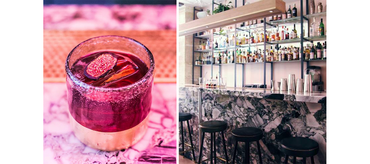 Cocktail of fresh fruits and vegetables and the interior of Nicolas Munoz's Bar in Paris