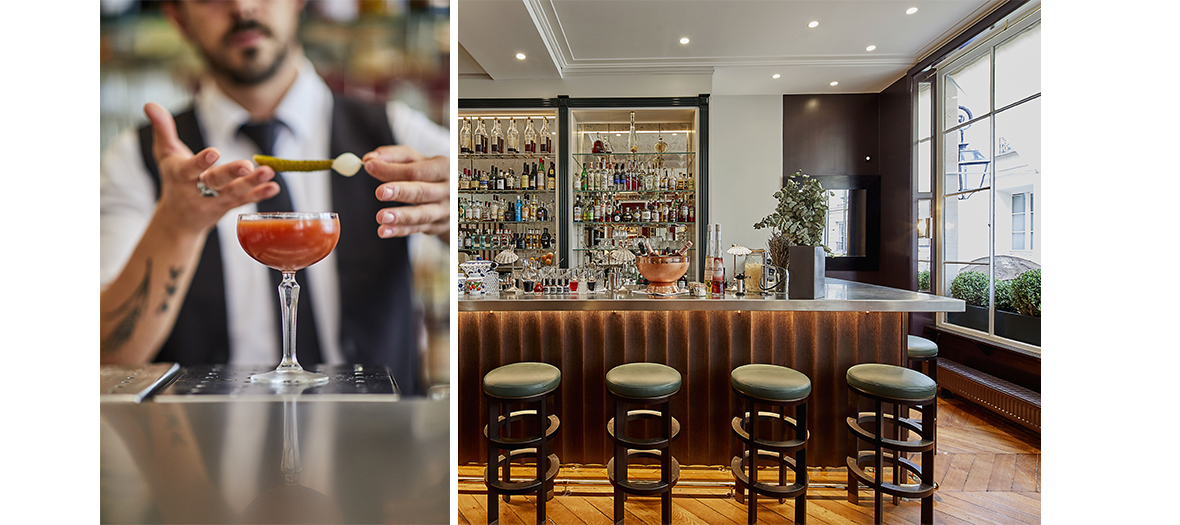 Preparation of the Cocktail Spritz and interior atmosphere of the Bar  in Paris