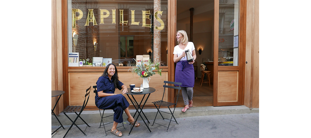Papilles Restaurant facade with Celine Pham