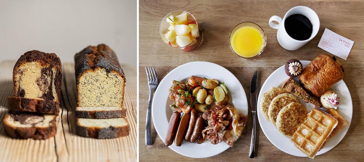 œufs brouillés, saucisses, salades, quiches, charcuterie, fromage, gravlax de saumon, viennoiseries, pancakes, granola, salade de fruits