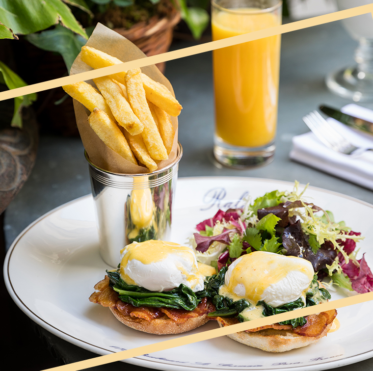 smoked salmon Benedict egg, Canadian bacon or spinach, french fries and salad