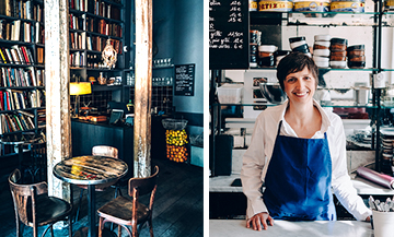 Julia Sammut et interieur du restaurant Merci