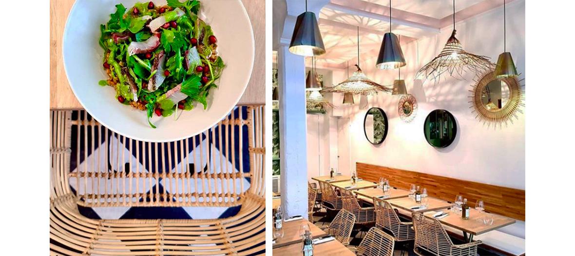 saumon fume au romarin avec la decoration interieure du restaurant vida