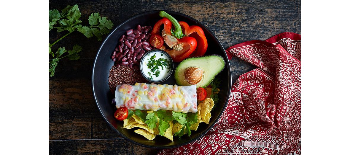 rouleau de printemps mexicain pour le plat