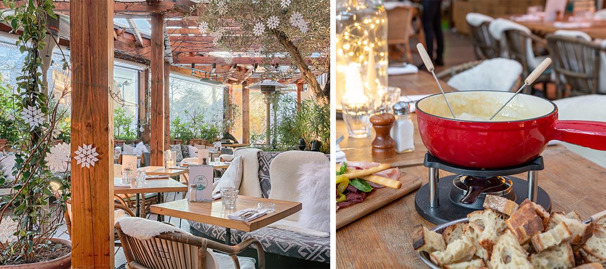 Covered rooftop and fondue at the Brasserie d'auteuil