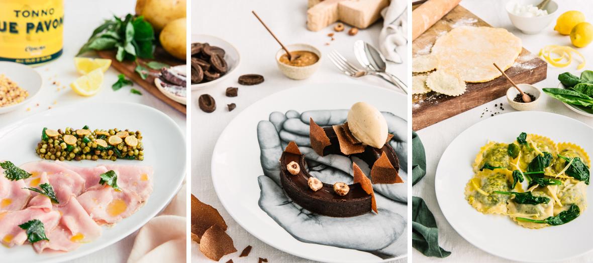 Presentation des produits et plats du restaurant italien schiap