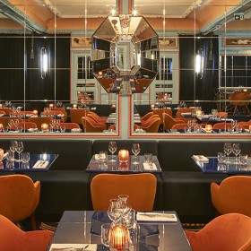 Dining room of the trendy restaurant Froufrou in Paris