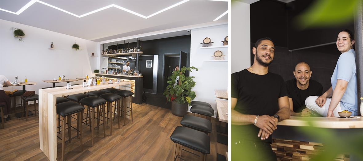 Portrait de Julia Sedefdjian, Gegory Anelka et Sébastien Jean-Joseph et l'ambiance intérieur du bar à cocktail Bô