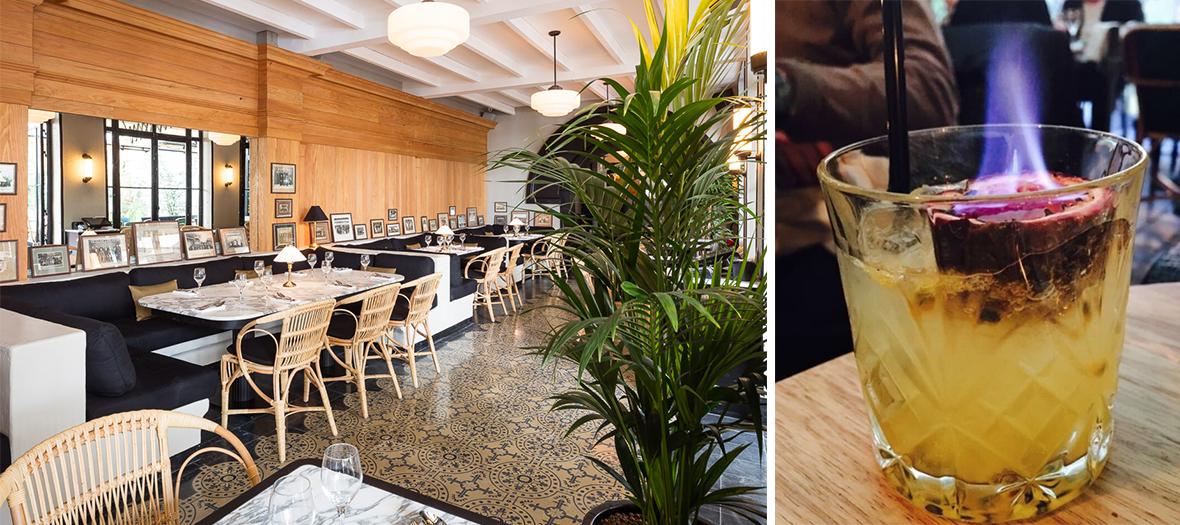 Salle à manger décoré par Clément et Clémence Goutal et cocktail du restaurant