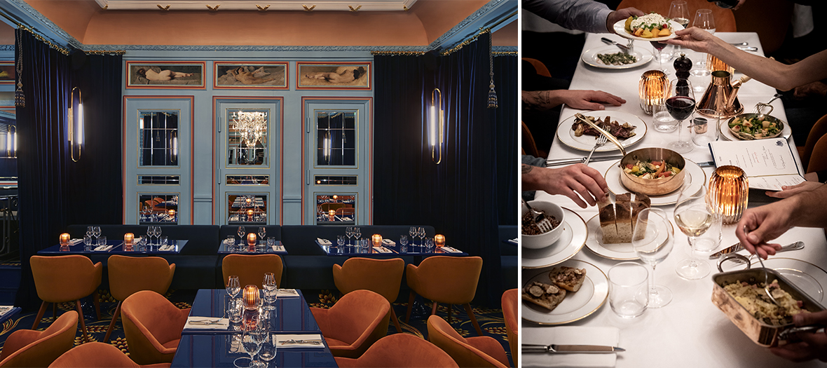 Interior atmosphere and feta and boulgour tetragon salad dishes, segments of orange, the tartar of beef with the knife, strawberries & basil of the restaurant Froufrou