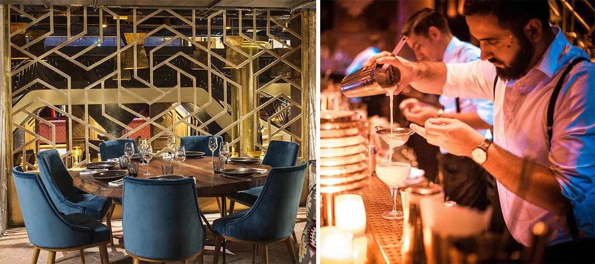 Ambiance Interieur et Portrait du chefs Gaston Acurio au bar a cocktails du restaurant de Benjamin Patou