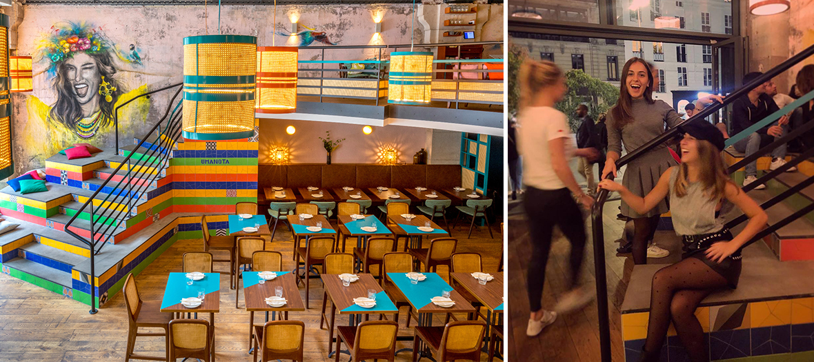 Décoration de la salle du restaurant avec escaliers-gradins en couleurs mêle culture brésilienne et influences japonaises