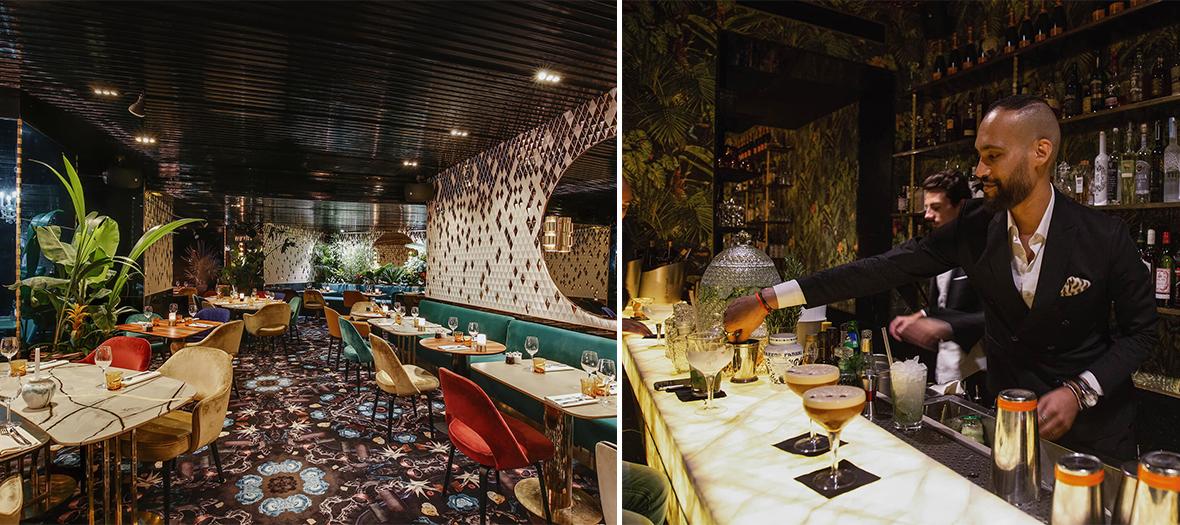 Décoration Interieur et Portrait du Chef Thibault Sombardier au bar a cocktails du restaurant Verde