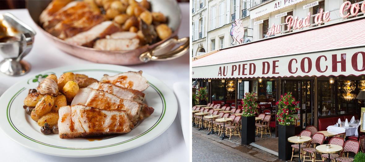Facade exterieure et Rotie de porc et pommes grenaille du restaurant pied de cochon