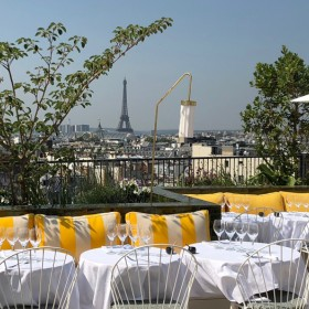 Rooftop restaurant Perruche during a sunny day