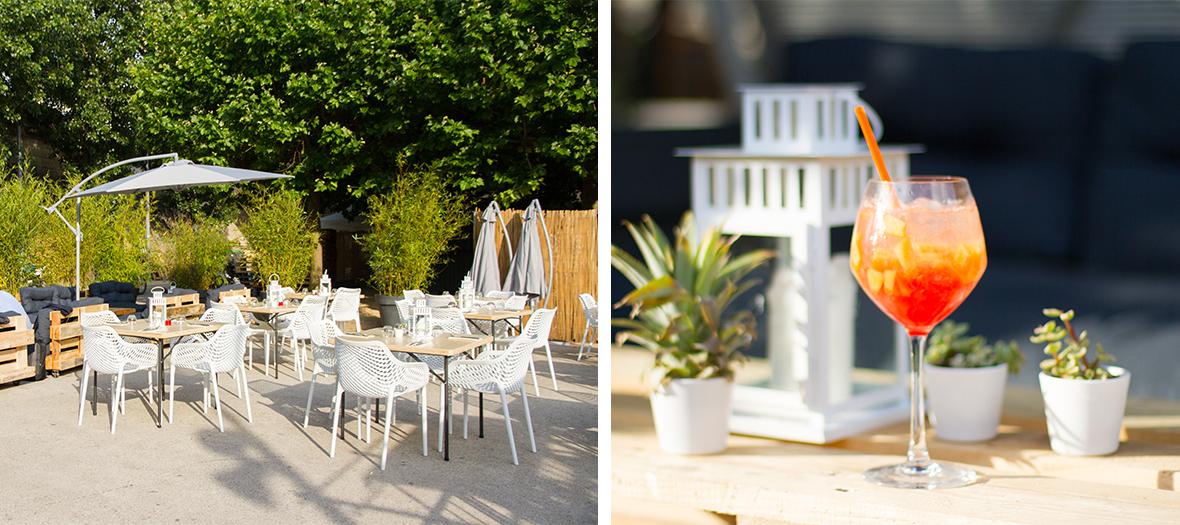 Terrasse du restaurant Pansoul avec le cocktail doudou love pendant l'apero