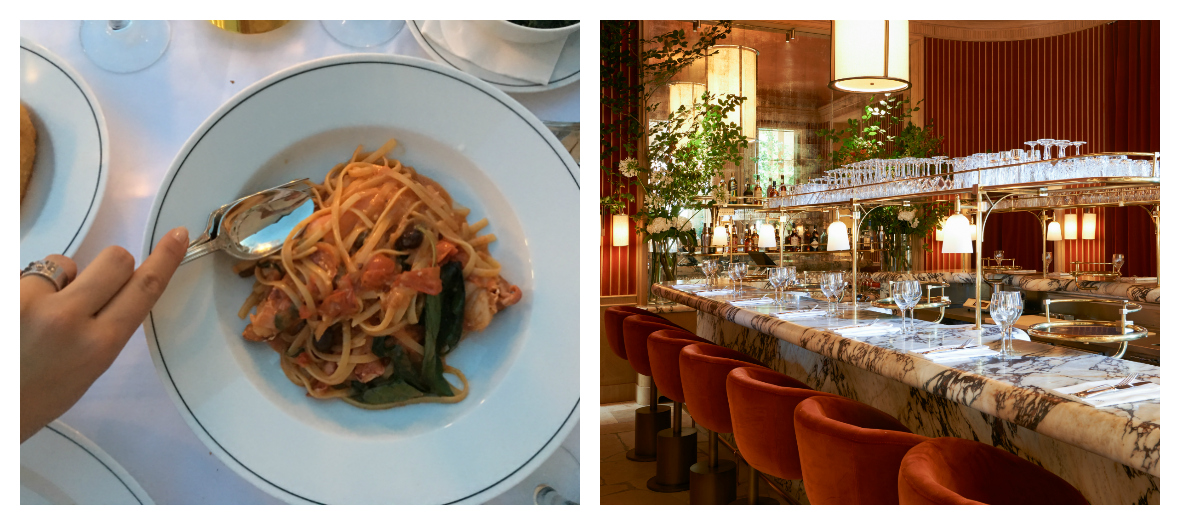 Bar and lobster pastas with tomato sauce at the Girafe restaurant in Paris