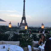 Terrace of the girafe restaurant in Paris