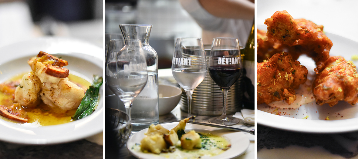 Dishes of cod fritters, grilled asparagus steak, shredded carrots with butter and a natural wine from the Deviant bar