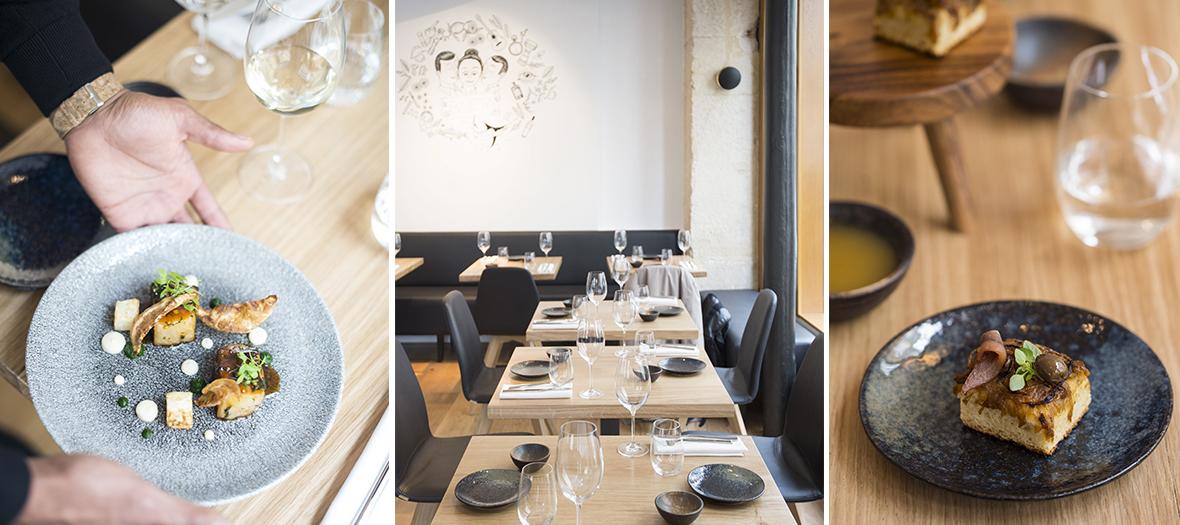 Interieur et plat du restaurant