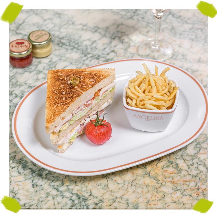 Le Club sandwich veggie à la crème de féta oeuf dur avocat, volaille ou saumon-chèvre