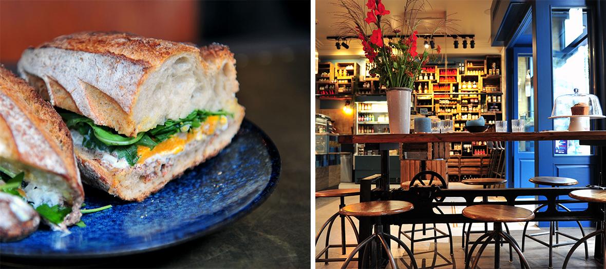 Sandwich et intérieur du restaurant