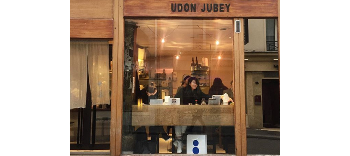 Outside facade of Udon Jubey restaurant in Paris