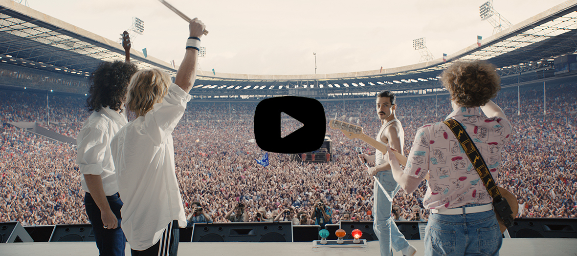 Extrait du film Bohemian Rhapsody avec Rami Malek, Gwilym Lee, Joseph Mazzello et Ben Hardy