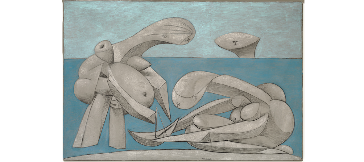 Huile, crayon conté et craie sur toile de Picasso