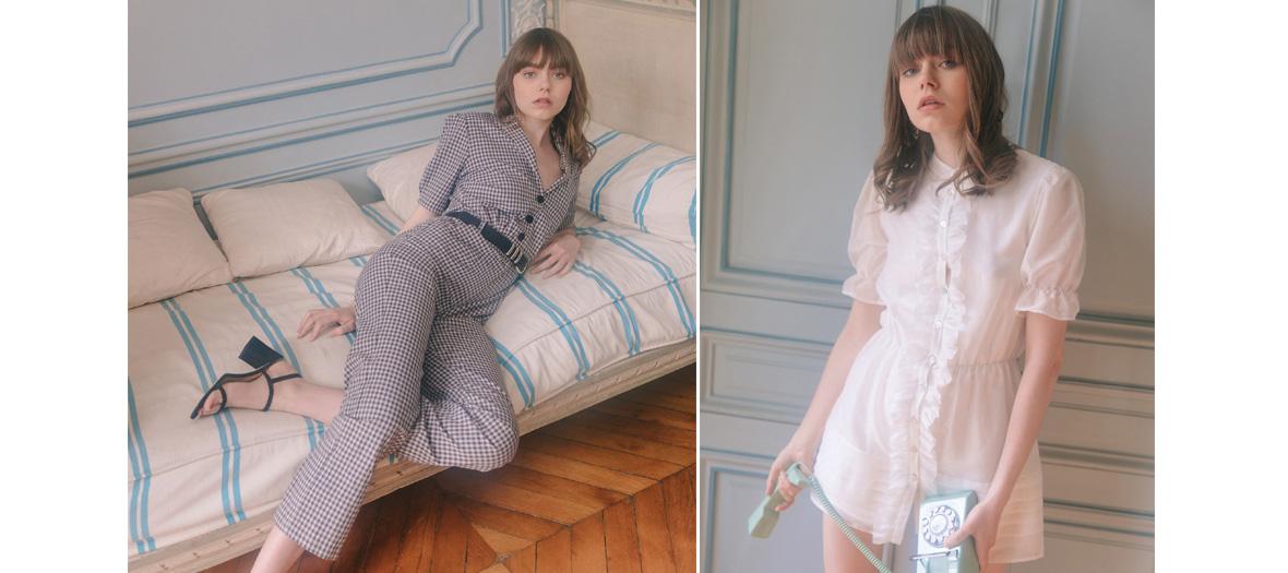 Combinaison à carreaux, petite robe blanche