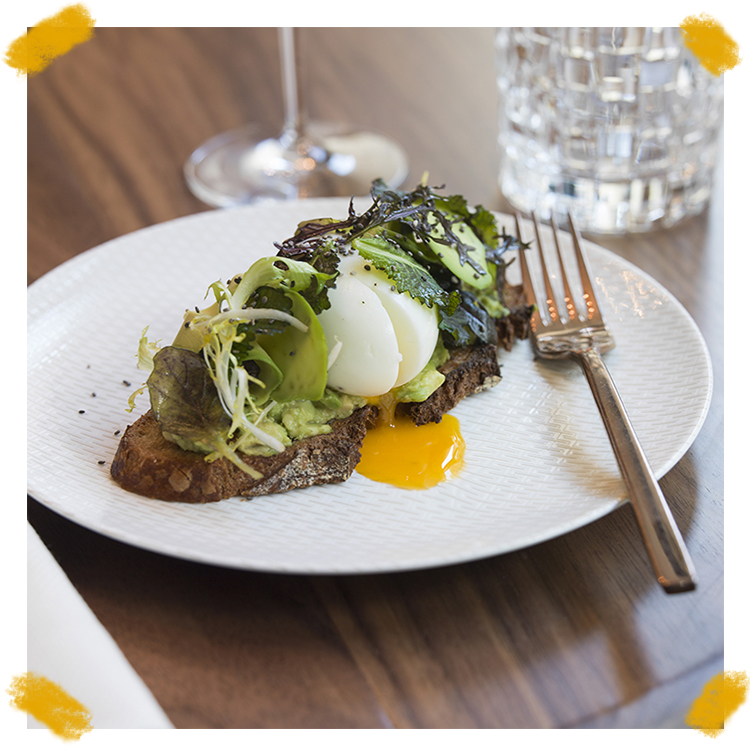 Avocado toast of the chef Michel Rostang at Odette restaurant in Paris
