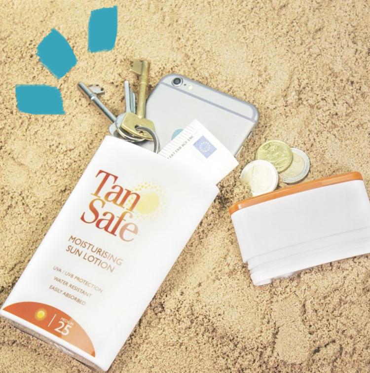 cacher les affaires dans une crème solaire Tan Safe