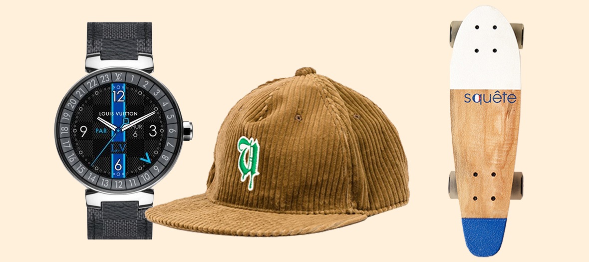 Casquette undercover, montre Smart Watch Louis Vuitton et Skateboard Squete x Monoprix