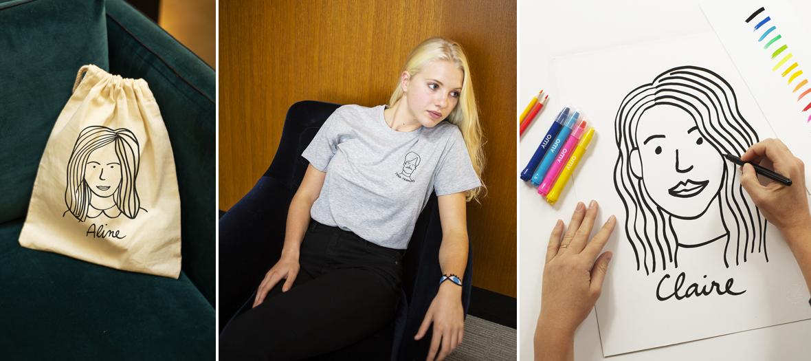 Portrait on a t-shirt, a sweatshirt, a notebook, a shopping bag, a kit